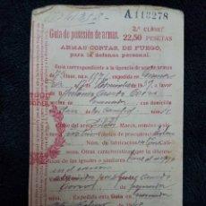 Militaria: LICENCIA ARMA CORTA 1940 GRANADA. Lote 110817730