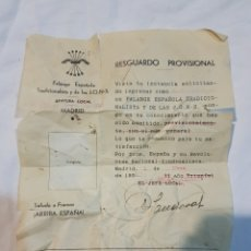 Militaria: RESGUARDO PROVISIONAL DE FALANGE ESPAÑOLA DE TRADICIONALISTA JONS JEFATURA LOCAL MADRID AÑO 1939. Lote 110915940