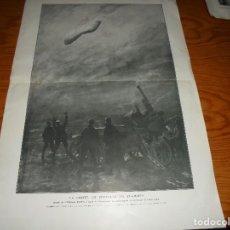 Militaria: LA CAIDA DEL ZEPPELIN EN LLAMAS. DIBUJO DE GEORGES SCOTT. L´ILLUSTRATION FEBRERO 1916. 60 X 40 CM. Lote 110955079
