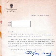 Militaria: CARTA CON FIRMA DE RAIMUNDO FERNANDEZ CUESTA,DE FALANGE ESPAÑOLA,AMIGO JOSE ANTONIO PRIMO DE RIVERA. Lote 111357755