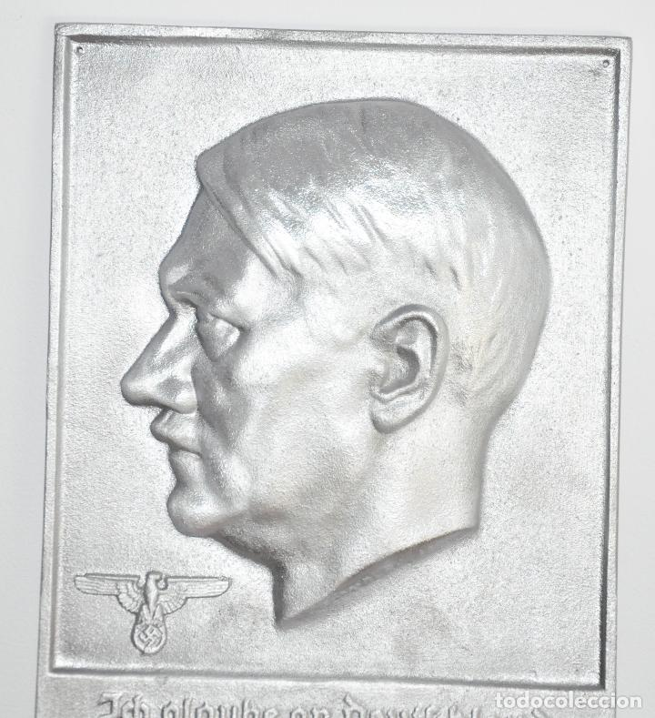 Militaria: Placa alemana .Adolf Hitler .Fundición de hierro - Foto 3 - 189102332