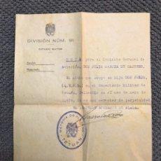 Militaria: MILITAR,- DOCUMENTO MILITAR TETUAN. MAYO DE 1936. Lote 112150036
