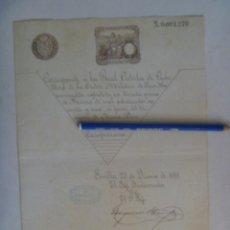 Militaria: CEDULA CABALLERO ORDEN SAN HERMENEGILDO DE TENIENTE DE NAVIO, SIGLO XIX . SEVILLA 1891. Lote 112185895
