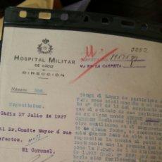 Militaria: DOCUMENTO DEL HOSPITAL MILITAR DE CÁDIZ AÑO 1927. Lote 112243396