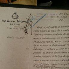 Militaria: DOCUMENTO DEL HOSPITAL MILITAR DE CÁDIZ AÑO 1929. Lote 112243526