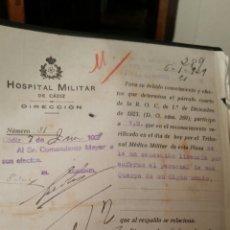Militaria: DOCUMENTO DEL HOSPITAL MILITAR DE CÁDIZ AÑO 1929. Lote 112243604