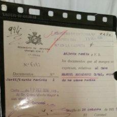 Militaria: DOCUMENTO GUERRA CIVIL REGIMIENTO DE INFANTERÍA GRANADA 1936. Lote 112243772