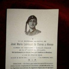 Militaria: ESQUELA JOSÉ MARÍA LAMAMIE DE CLAIRAC Y ALONSO 1937. Lote 112665596