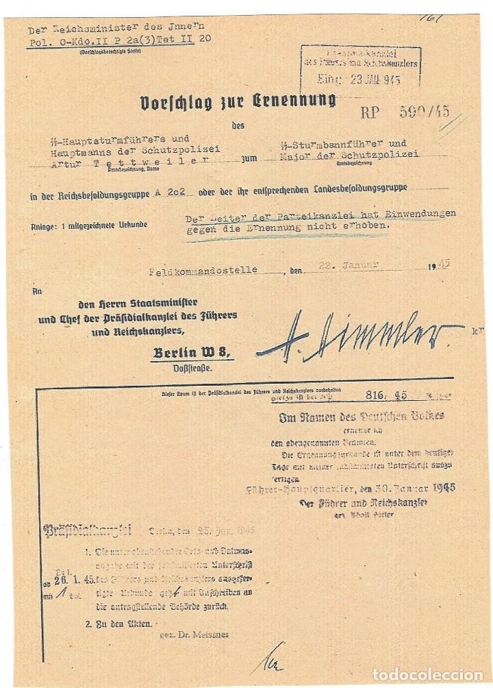 FACSÍMIL DE DOCUMENTO CON LA FIRMA DE HEINRICH HIMMLER (Militar - Propaganda y Documentos)
