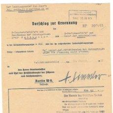 Militaria: FACSÍMIL DE DOCUMENTO CON LA FIRMA DE HEINRICH HIMMLER. Lote 112666651