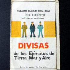 Militaria: TRIPTICO DIVISAS EJERCITOS TIERRA,MAR Y AIRE 1977 - ORIGINAL USADO -ENVIO GRATIS -. Lote 112898747