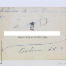 Militaria: TARJETA DE VISITA DE SARGENTO DE GUARDIA CIVIL - DIRIGIDA A FRANCISCO FRANCO ? - GUERRA CIVIL - 1932. Lote 113662947