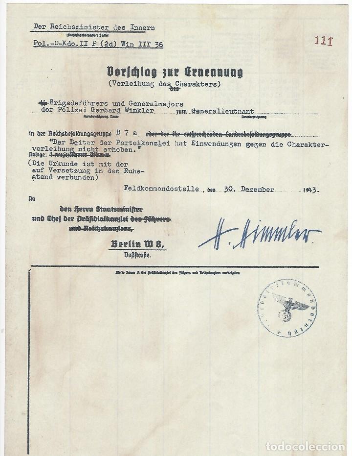 FACSÍMIL DE DOCUMENTO FIRMADO POR EL REICHSFUHRER DE LAS SS HEINRICH HIMMLER (Militar - Propaganda y Documentos)