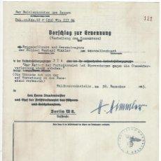 Militaria: FACSÍMIL DE DOCUMENTO FIRMADO POR EL REICHSFUHRER DE LAS SS HEINRICH HIMMLER. Lote 113717771