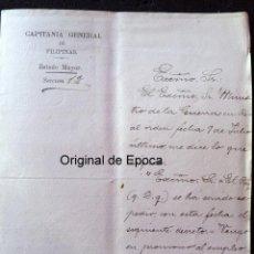 Militaria: (JX-180315)NOTIFICACIONES ASCENSO BRIGADIER CUERPO DE ESTADO MAYOR CORONEL SABINO GAMIN - FILIPINAS. Lote 114084791
