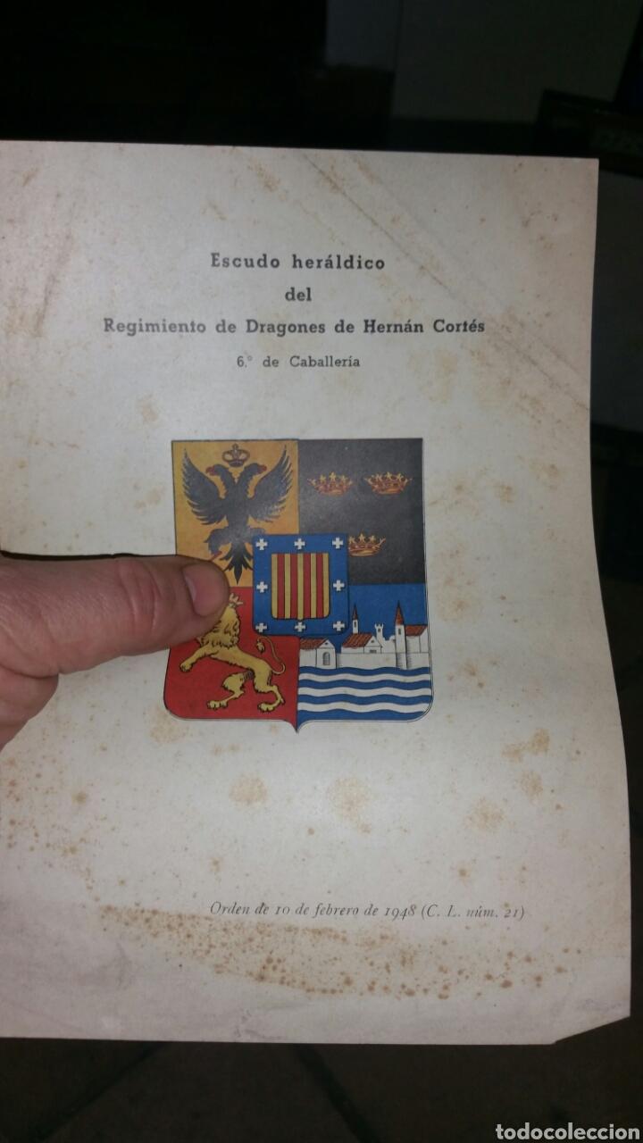 LÁMINA CON EL ESCUDO HERÁLDICO DEL REGIMIENTO DE DRAGONES HERNÁN CORTÉS (Militar - Propaganda y Documentos)