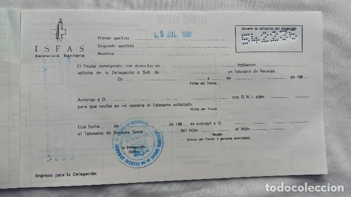 Militaria: (Sevilla) Talonario RECETAS I.S.F.A.S 1991 - Foto 3 - 114609191