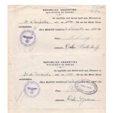 Militaria: 3 PERMISOS DE MARINA DE GUERRA ALEMANA DEL CRUCERO GRAF SPEE EN ISLA MARTIN GARCIA 1941. ARGENTINA. Lote 115133755