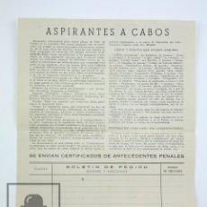 Militaria: HOJA DE PEDIDO PUBLICACIONES PARA LOS ASPIRANTES A CABO DE LA GUARDIA CIVIL - AÑO 1949. Lote 115195999
