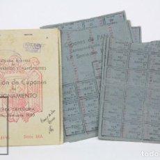 Militaria: CONJUNTO DE CARTILLA Y CUPONES DE RACIONAMIENTO - CUEVAS DE SAN MARCOS, MÁLAGA. AÑO 1950. Lote 115201319