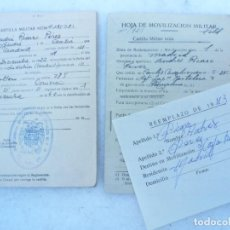 Militaria: CARTILLA MILITAR Y HOJA DE MOVILIZACIÓN DE 1942. Lote 115323387