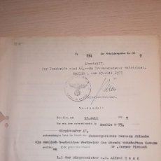 Militaria: DOCUMENTO ALEMAN, EPOCA III REICH. AÑO 1937. Lote 115327183