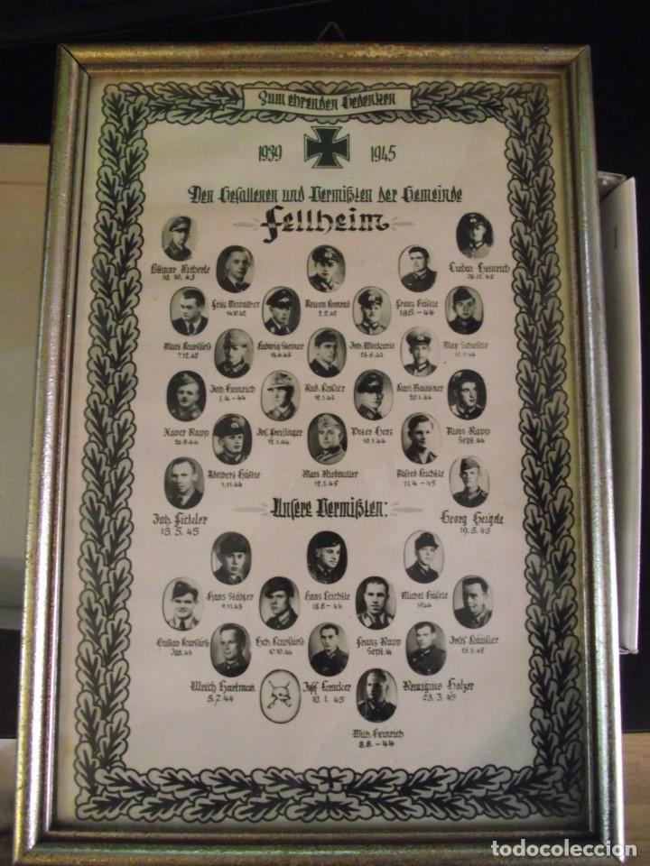 ORIGINAL CUADRO ALEMAN DEL AYUNTAMIENTO DE LA ALDEA DE FELLHEIM DE TODOS SUS CAIDOS DE 1939 A 1945 (Militar - Propaganda y Documentos)