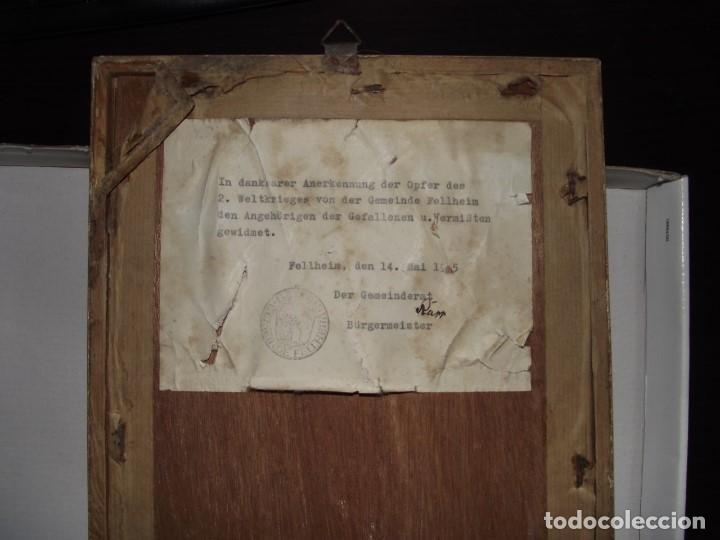Militaria: ORIGINAL CUADRO ALEMAN DEL AYUNTAMIENTO DE LA ALDEA DE FELLHEIM DE TODOS SUS CAIDOS DE 1939 A 1945 - Foto 3 - 115549063
