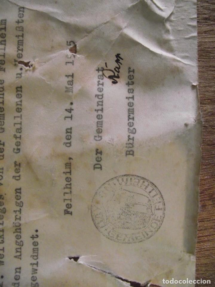 Militaria: ORIGINAL CUADRO ALEMAN DEL AYUNTAMIENTO DE LA ALDEA DE FELLHEIM DE TODOS SUS CAIDOS DE 1939 A 1945 - Foto 5 - 115549063