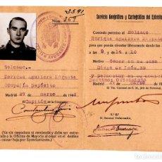 Militaria: TARJATA DE CONCESIN DE PERMISO PARA PODER SALIR DEL CUARTEL FUERA DE HORAS. SERVICIO GEOGRÁFICO 1942. Lote 115620275
