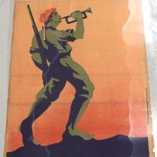Militaria: CARTEL LA LLAMADA DEL REQUETÉ. GUERRA CIVIL ESPAÑOLA. ILUSTRADO POR ARLAIZ. CIRCA 1937.. Lote 115778347