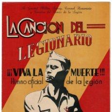 Militaria: LA CANCIÓN DEL LEGIONARIO VIVA LA MUERTE HIMNO OFICIAL . UNIÓN MUSICA ESPAÑOLA.E.GUILLEN - M. ROMERO. Lote 116216631