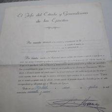 Militaria: DOCUMENTO OFICIAL FIRMADO POR EL GENERALÍSIMO FRANCO ORIGINAL. Lote 116251318