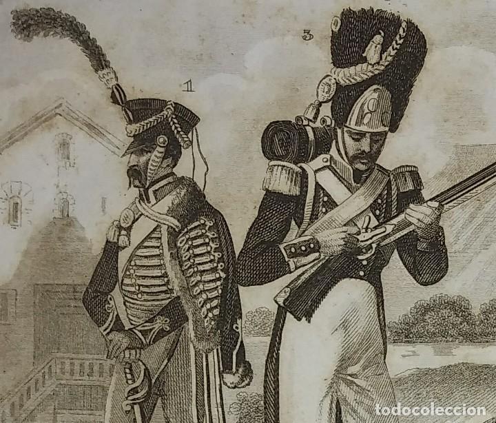 Militaria: Grabado original s.XIX Trajes militares alemanes 22x14,7 Costumes militaires Allemands - Foto 2 - 116258895