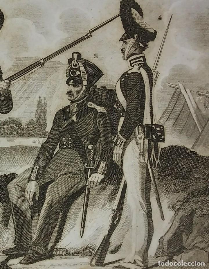 Militaria: Grabado original s.XIX Trajes militares alemanes 22x14,7 Costumes militaires Allemands - Foto 3 - 116258895