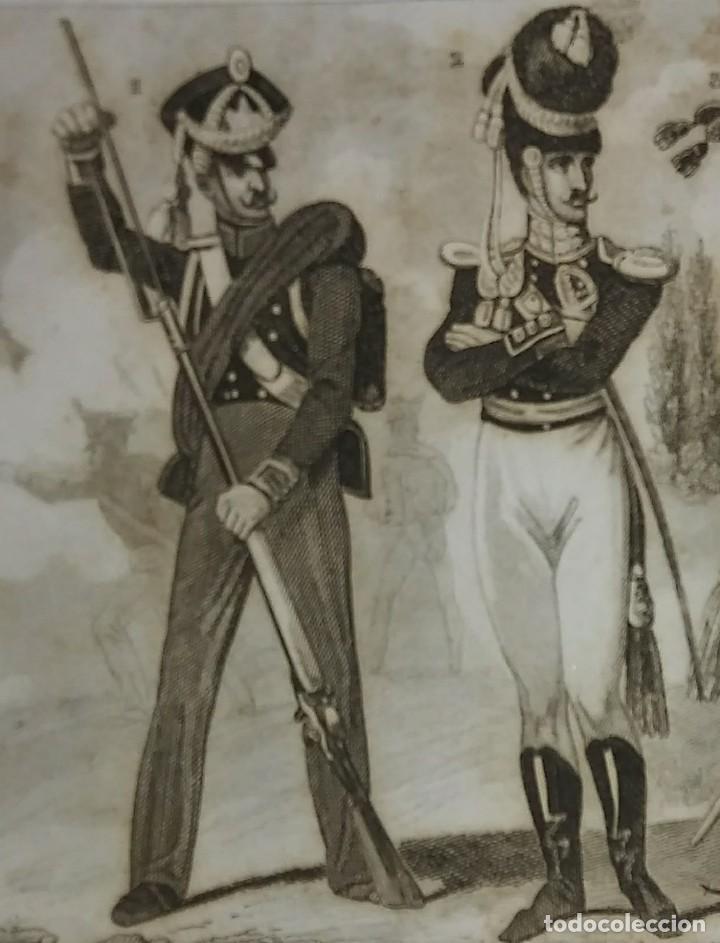 Militaria: Grabado original s.XIX Trajes militares alemanes 22x14,7 Costumes militaires Allemands - Foto 2 - 116260119