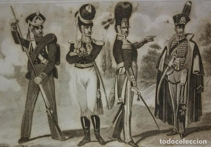 GRABADO ORIGINAL S.XIX TRAJES MILITARES ALEMANES 22X14,7 COSTUMES MILITAIRES ALLEMANDS (Militar - Propaganda y Documentos)