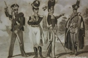 Grabado original s.XIX Trajes militares alemanes 22x14,7 Costumes militaires Allemands