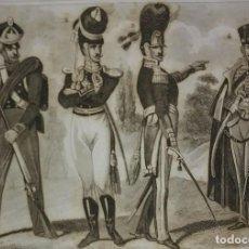 Militaria: GRABADO ORIGINAL S.XIX TRAJES MILITARES ALEMANES 22X14,7 COSTUMES MILITAIRES ALLEMANDS. Lote 116260119