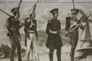Grabado original s.XIX Trajes militares Prusianos 22x14,7 Costumes militaires Prussiens