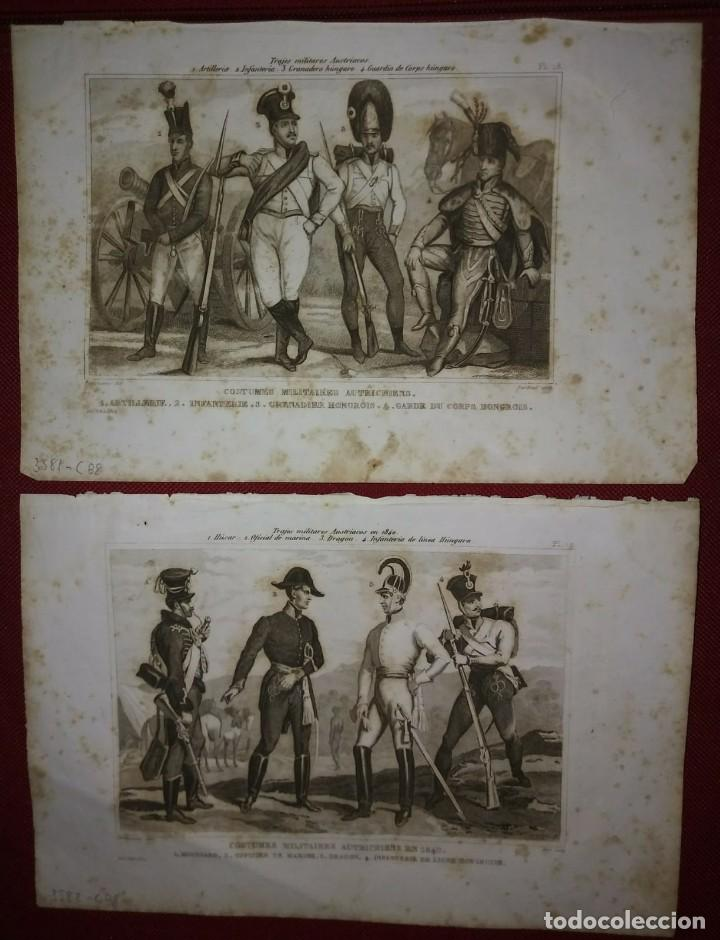2 GRABADOS ORIGINALES S.XIX TRAJES MILITARES AUSTRIACOS EN 1840 COSTUMES MILITAIRES AUTRICHIENS (Militar - Propaganda y Documentos)