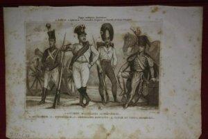 2 grabados originales s.XIX Trajes militares Austriacos en 1840 Costumes militaires Autrichiens
