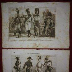 Militaria: 2 GRABADOS ORIGINALES S.XIX TRAJES MILITARES AUSTRIACOS EN 1840 COSTUMES MILITAIRES AUTRICHIENS. Lote 116263531