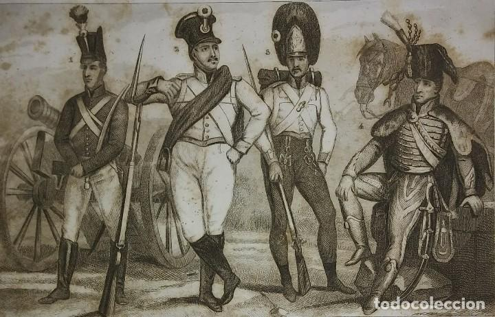 Militaria: 2 grabados originales s.XIX Trajes militares Austriacos en 1840 Costumes militaires Autrichiens - Foto 2 - 116263531