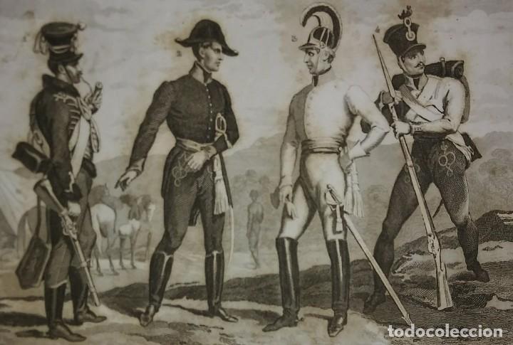 Militaria: 2 grabados originales s.XIX Trajes militares Austriacos en 1840 Costumes militaires Autrichiens - Foto 3 - 116263531