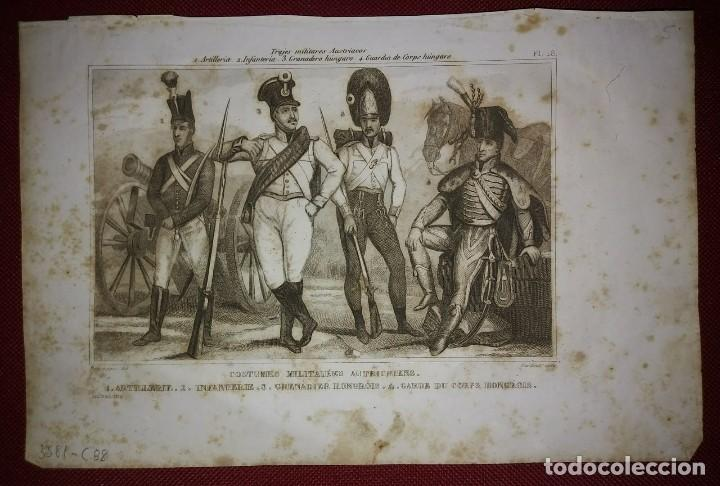 Militaria: 2 grabados originales s.XIX Trajes militares Austriacos en 1840 Costumes militaires Autrichiens - Foto 4 - 116263531