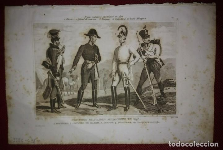 Militaria: 2 grabados originales s.XIX Trajes militares Austriacos en 1840 Costumes militaires Autrichiens - Foto 5 - 116263531