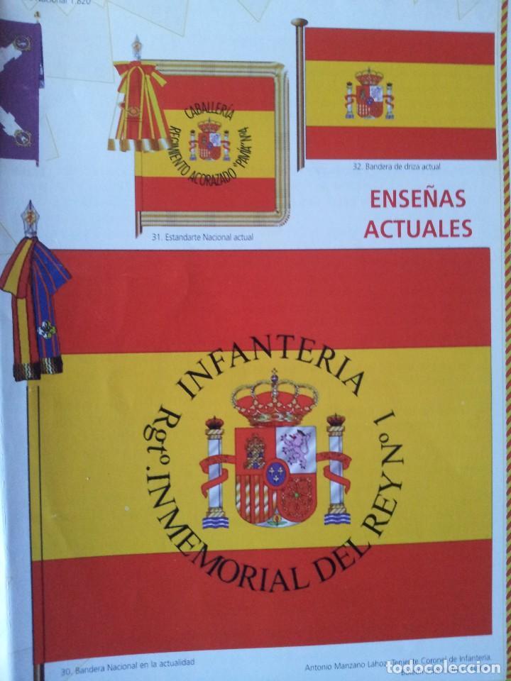 Militaria: LA BANDERA DE ESPAÑA. FACSIMIL DE LA COPIA ORIGINAL DE 1785 + LAMINA HISTORIA Y EVOLUCIÓN - Foto 12 - 116433795