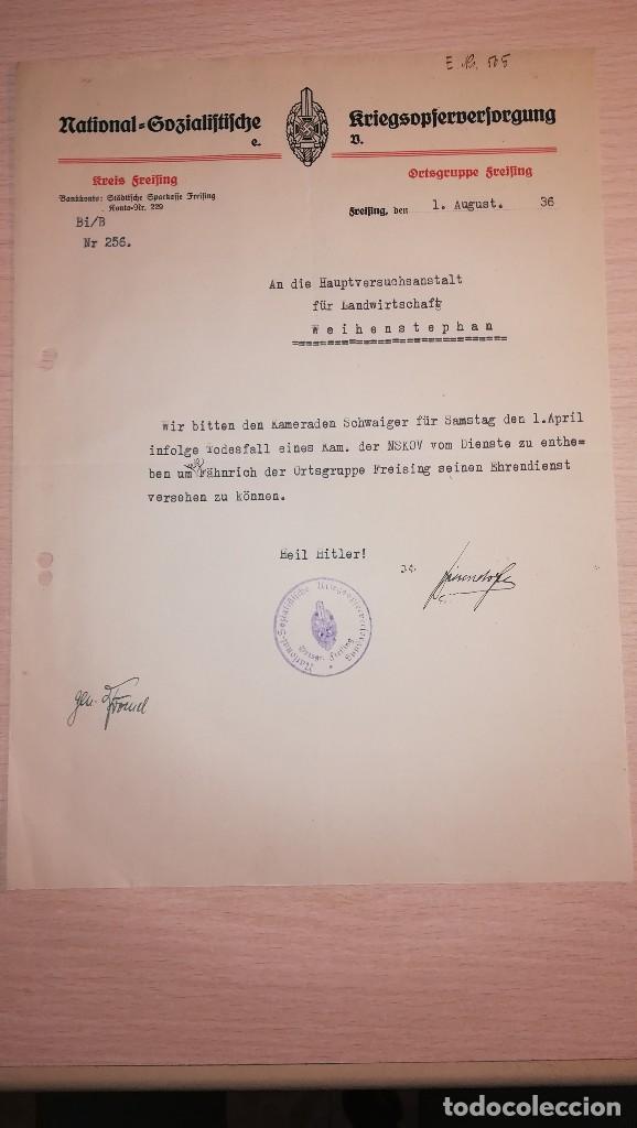DOCUMENTO ALEMAN, EPOCA III REICH. AÑO 1936 (Militar - Propaganda y Documentos)