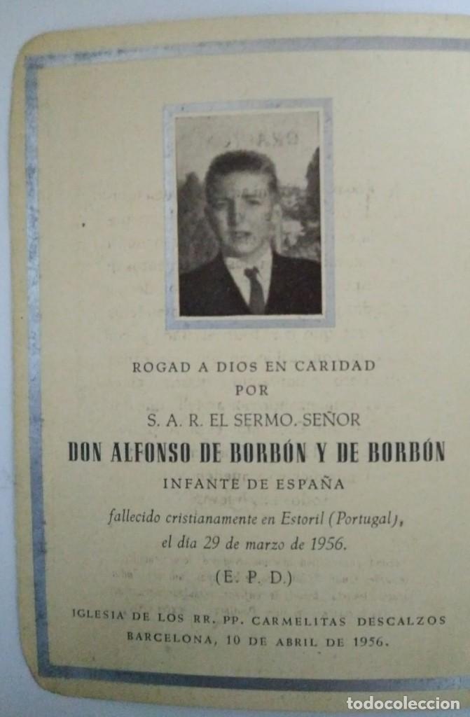 Militaria: Esquela Don Alfonso de Borbón hermano pequeño de Juan Carlos I que murió a los 15 años de edad 1956 - Foto 3 - 116647735
